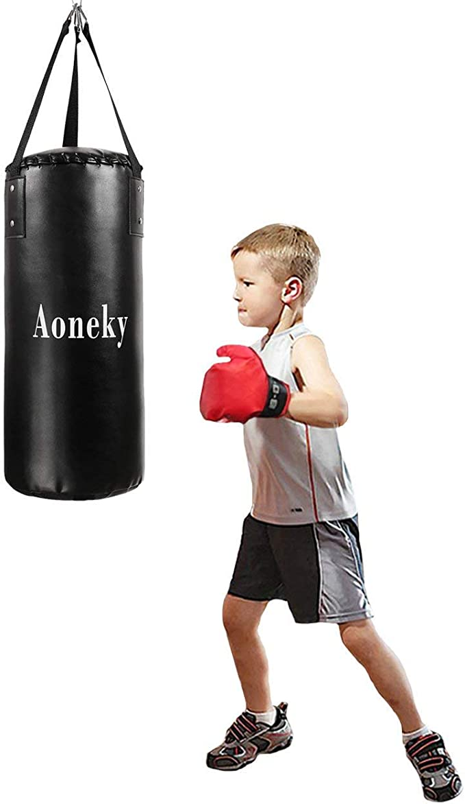 Youth Workout Activity for Children Strong Hanging Braid Strap for Ceiling Heavy Duty Brazing Leather Filled Boxing Bag for MMA and Kickboxing Training Kids Punching Bag