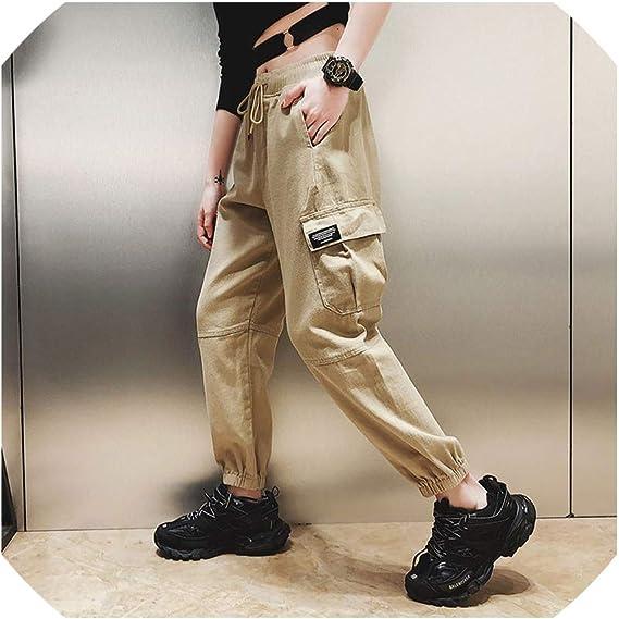 Pantalones Cargo De Algodon Para Mujer Cintura Alta Pantalones De Hip Hop Para Mujer Pantalones Sueltos Tipo Haren Khaki Pants M Amazon Com Mx Ropa Zapatos Y Accesorios