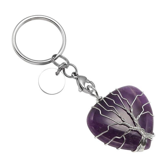 Amazon.com: Llavero de cristal natural con forma de árbol de ...
