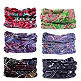 Toes Home Headwear Magic Headbands for Women Wide Head Wrap Seamless Bandana Scarf UV Resistence for Sport,Yoga,Hiking,Workout multiFunction 6PCS Boho Series 2