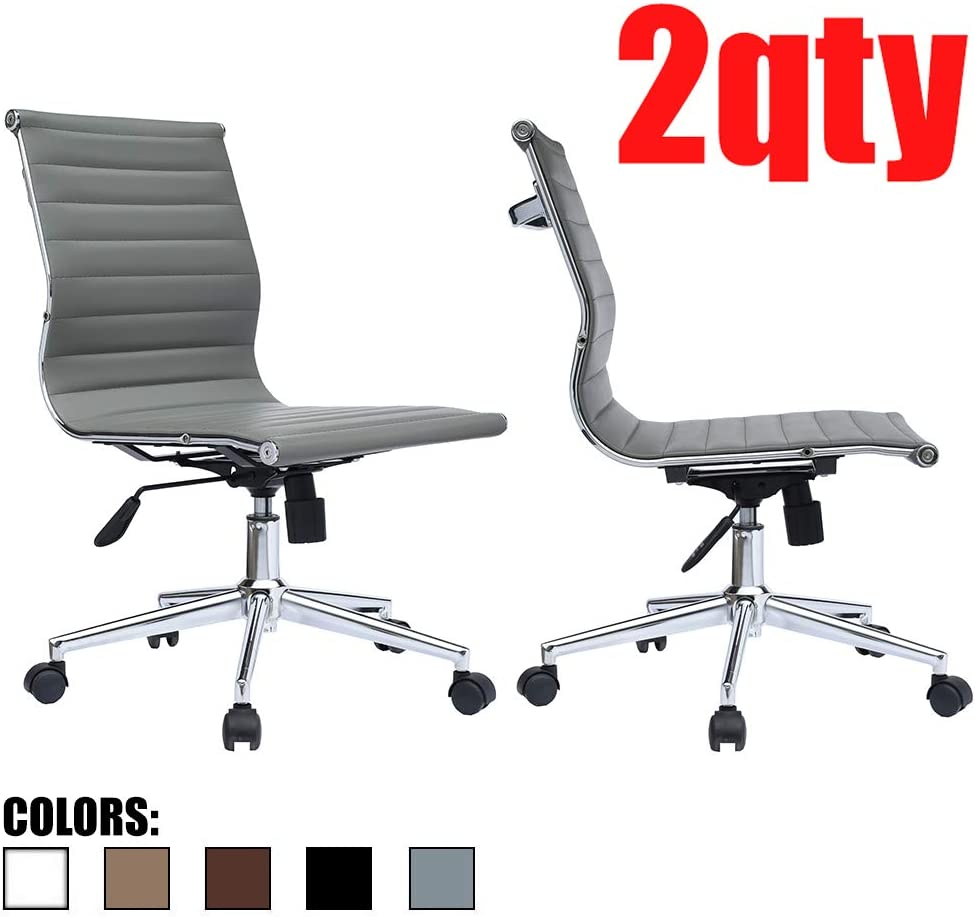 2xhome Modern Mid Back Office Chair Armless Ribbed PU Leather Swivel Tilt Adjustable Chair Designer Boss Executive Management Manager Office Conference Room Work Task Computer (Grey X2)
