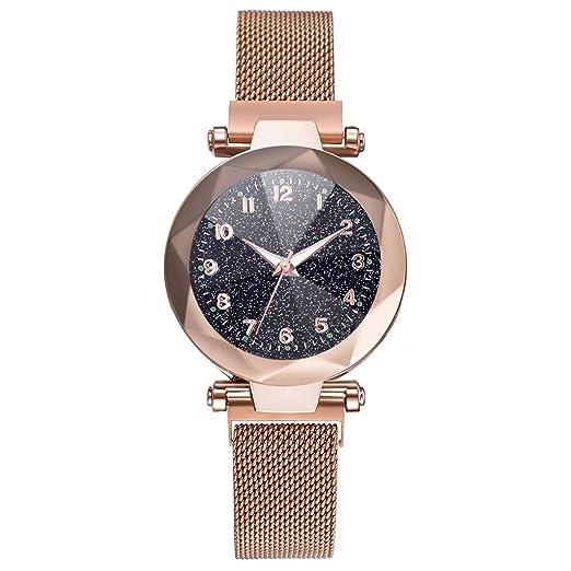 Relojes De SeñOra,Relojes Malla De Cuarzo con Hebilla MagnéTica Cielo Estrellado,Relojes Mujer