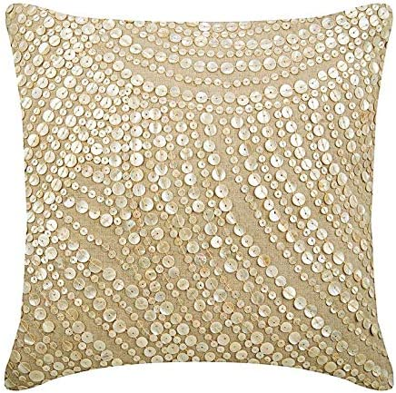 Amazon Com The Homecentric Ecru Throw Pillows Cover Allover Mother Of Pearl Pillows Cover 18x18 Inch 45x45 Cm Pillow Covers Decorative Square Cotton Linen Throw Pillows Cover Contemporary Glazed Pearls Home