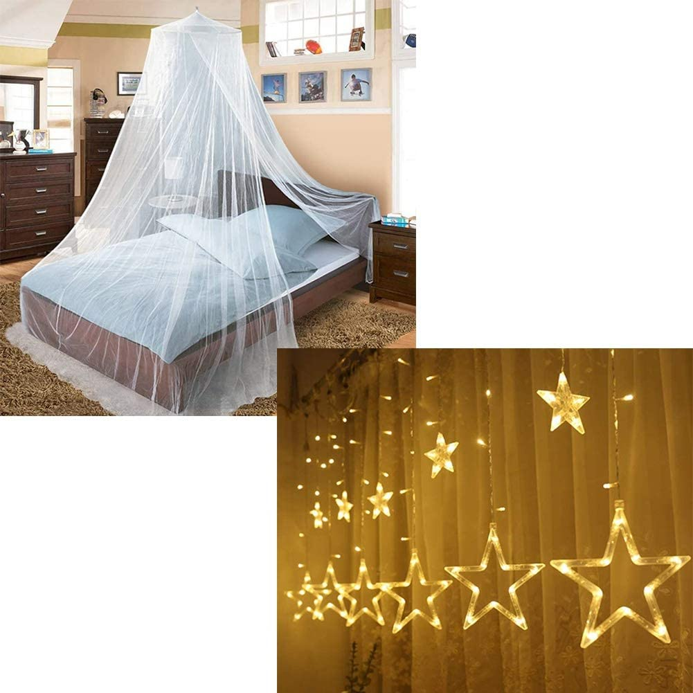 Twinkle Star Bed Canopy (White) 138 LED 12 Stars String Lights