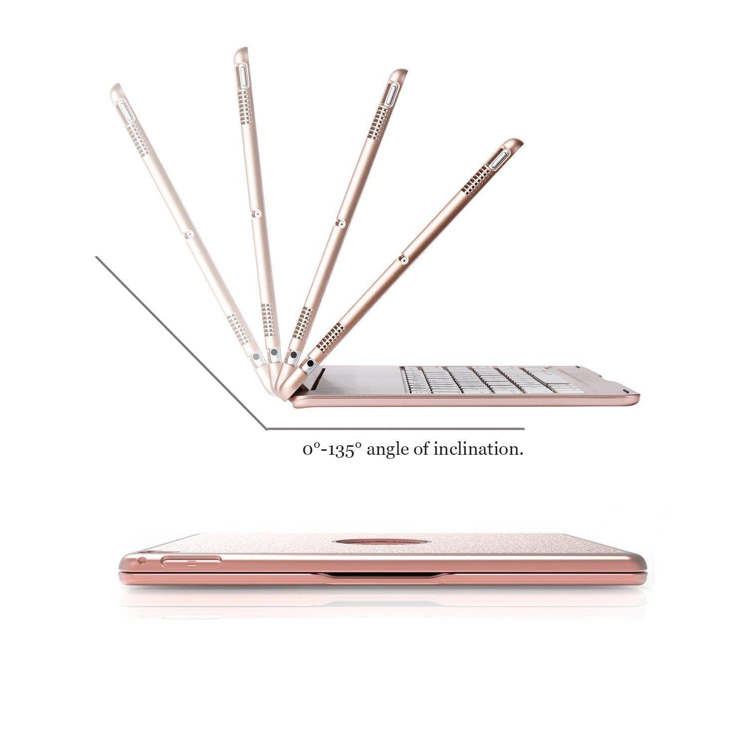 Keyboard Case for iPad Pro 12.9,7 Colors Backlight Slim Aluminum Wireless Keyboard with Protective Translucent Silicone Keyboard Cover and 5600 mAh Power Bank for iPad Pro 12.9 inch(12.9 Rose Gold) by KINGZE (Image #5)