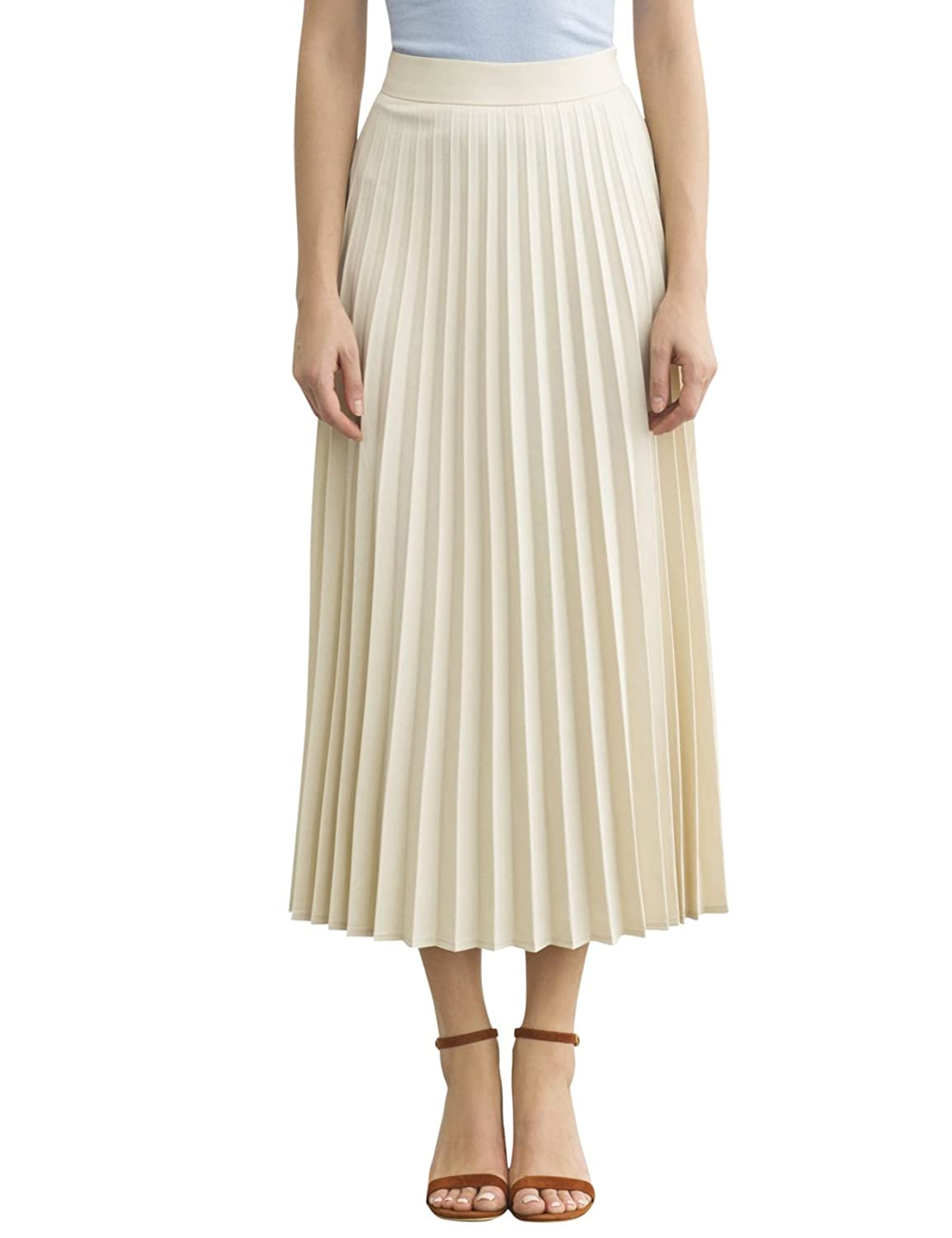 1940s Style Skirts- High Waist Vintage Skirts Simple Retro Womens High Waist Basic Pleated A-line Midi Skirt $24.99 AT vintagedancer.com