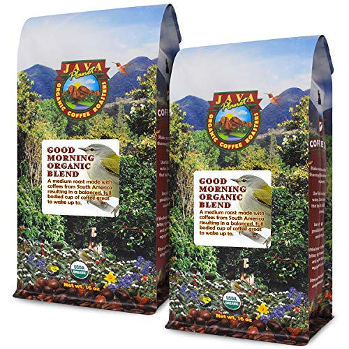 Java Planet - Good Morning USDA Organic Coffee Beans, Medium Roast, Arabica Gourmet Coffee Grade A, packaged in two 1 LB bags