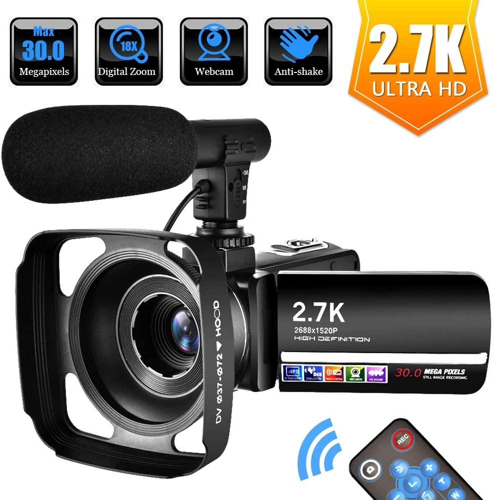 Videocámara Videocámara Camara de Video para Youtube 2.7K Full HD 30MP 18X Videocámara Digital con Micrófono, Control Remoto y Parasol: Amazon.es: Electrónica