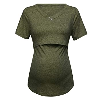 f21b00953f460 Amazon.com : Short Sleeve Maternity Nursing Tops Pregnancy Breastfeeding  Tees Shirt Clothes for Pregnant Women Wear Feedding Top Clothing (Size:XXL,  ...