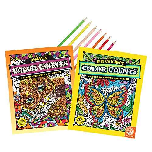 MindWare Color Counts Book Set of 2: Sunny Days with 18 Free Artist-Quality Colored Pencils
