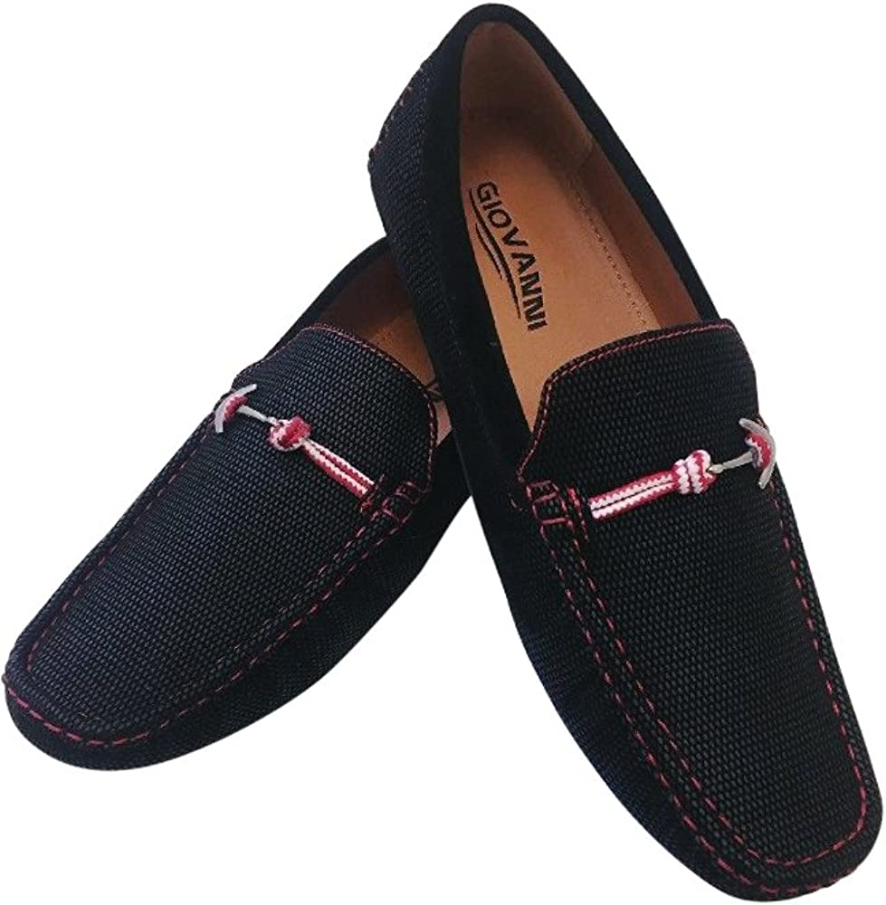 Mens Giovanni Loafer Dress Shoes Italian Style Slip On Suede Black with Red Stitch M15-523