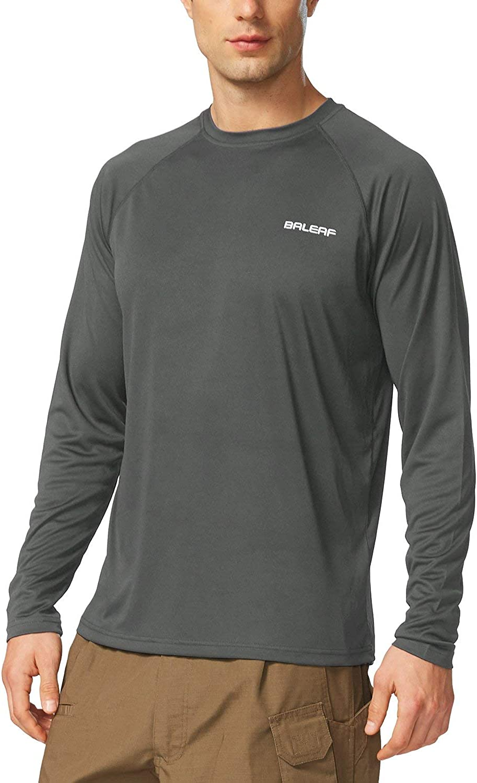 BALEAF Men's UPF 50+ Sun Protection Shirts Long Sleeve Dri Fit SPF T-Shirts Lightweight Fishing Hiking Running