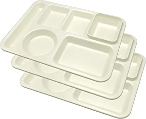 Happy Starla - Made In USA -Plastic Divided Plates for Adults, School Lunch Trays for Kids,Toddlers, Fast Food Trays Cafeteria Trays with Compartments Strong and Durable! 14x10 (Ivory, 3)