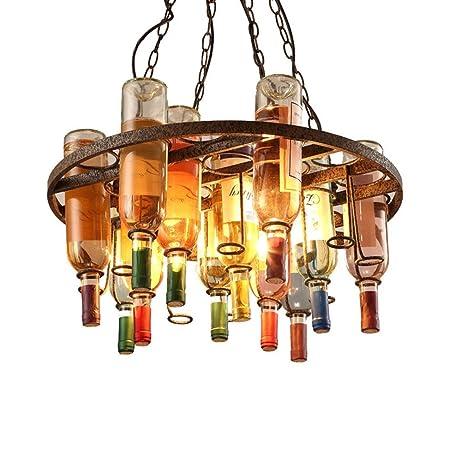 BESPD Retro estilo loft industrial creative araña de cristal lámpara de techo las lámparas colgantes,2509-D4A de botellas [Clase de eficiencia energética A ...