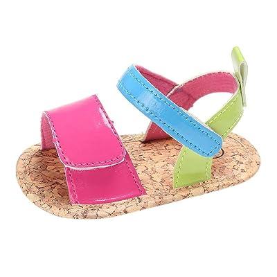 Jamicy nouveau-né Toddler Filles garçons d'été en cuir souple Semelle antidérapante Sandales Chaussures