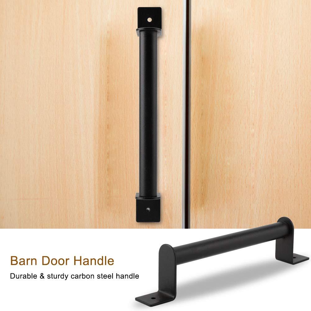 Diyeeni 1 Set of Door Handle,Black Vintage Heavy Duty Carbon Steel Pull Handle for Sliding Barn Door Closet Wooden Gate Hardware,Durable and Sturdy