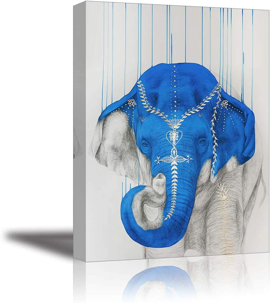 Amazon Com Blue Elephant Canvas Wall Art Beautiful Animal Picture 1 Piece Painting Home Decor For Bedroom Bathroom Framed Ready To Hang Waterproof Paintings