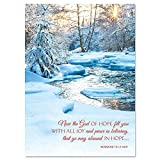 Snowy Stream Religious Personalized Christmas Cards - Mega Pack of 72 cards