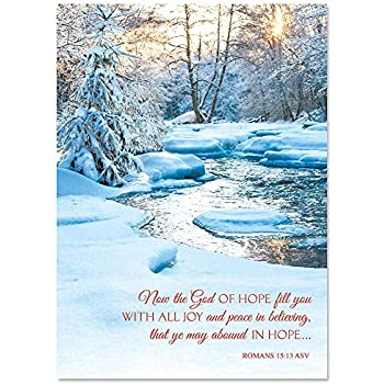 snowy stream religious personalized christmas cards mega pack of 72 cards