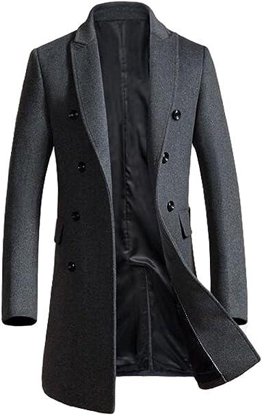 FTCayanz Herren Mantel Wintermantel Slim Fit Wollmantel Business Herrenmantel Lange Trenchcoat Jacken