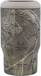 REDUCE Cold-1 Stainless Steel Can, Skinny Can and Beer Bottle Cooler/Holder – Keeps Drinks Ice Cold – Double Wall Vacuum Insulated, Sweat-Free Design, Fits 12oz Cans/Glass Bottles - Realtree Camo
