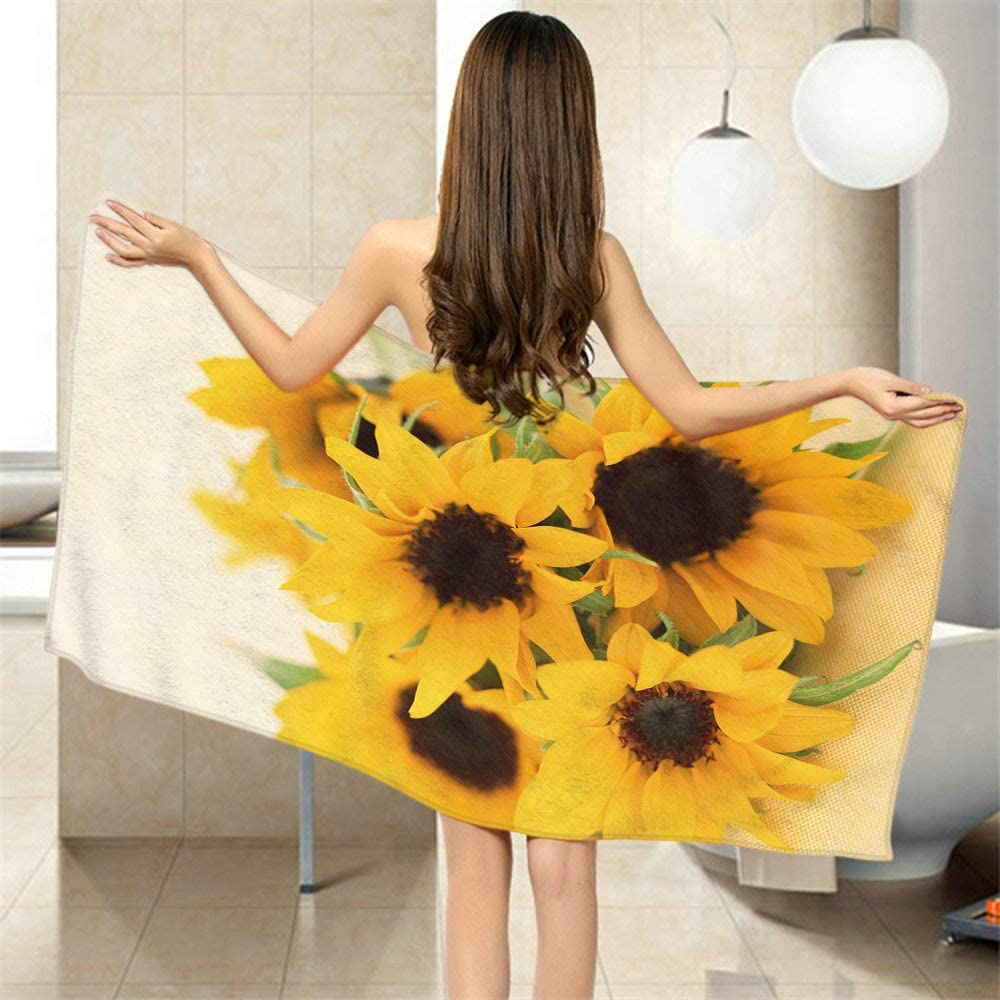 Moslion Soft Bath Towels Nice Sunflowers Comfy Bathing//Beach//Camping Towel for Women Men Girls Boys Large Size 64x32 Inches