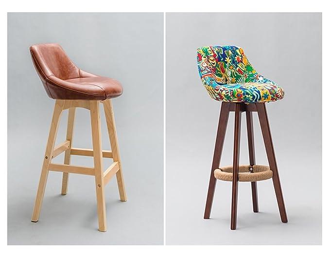 Bzei chair retro bar sedia sgabello barra di canapa corda legno