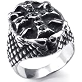 Konov Jewellery Mens Stainless Steel Ring, Biker Gothic Cross Halloween, Color Black Silver (with Gift Bag)