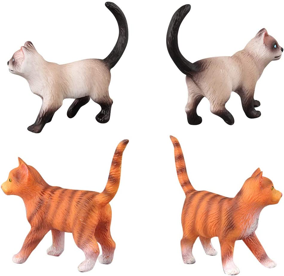 10 Pcs Realistic Cat Figurines Educational Learning Set Cake Topper Christmas Birthday Gift