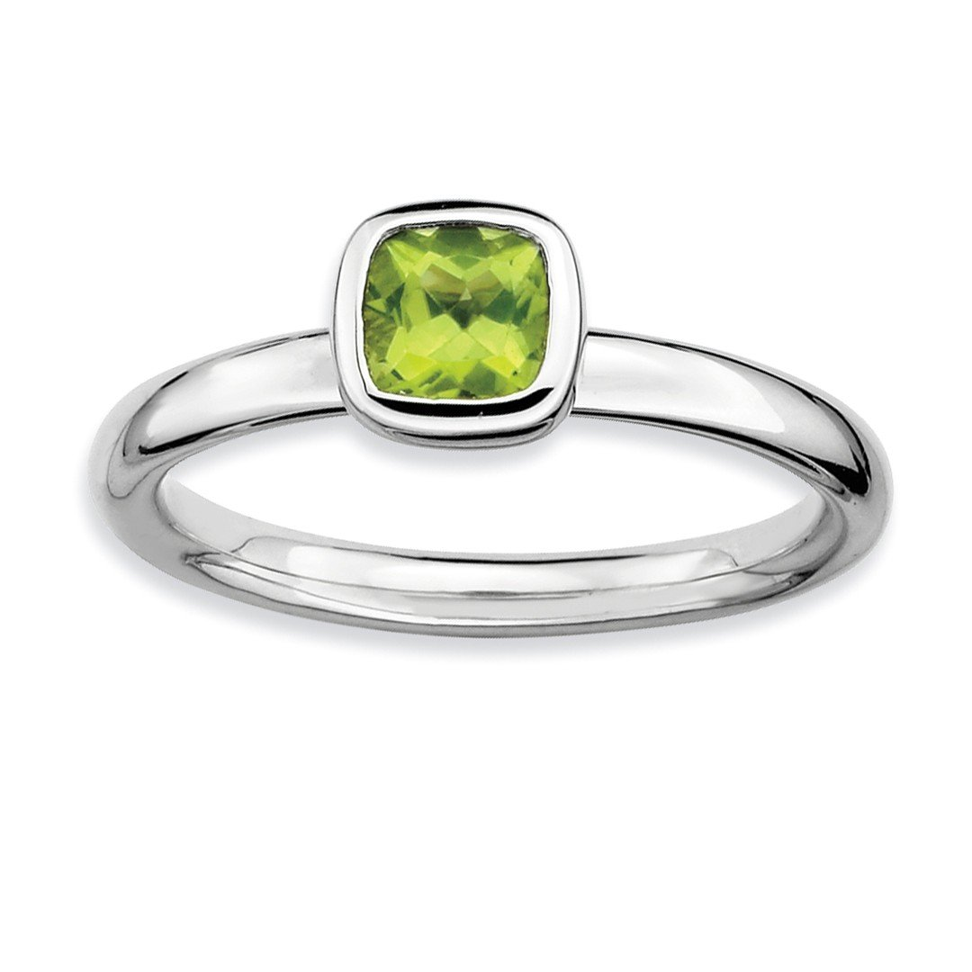 ICE CARATS 925 Sterling Silver Cushion Cut Green Peridot Band Ring Size 6.00 Stone Stackable Gemstone Birthstone August Fine Jewelry Ideal Gifts For Women Gift Set From Heart