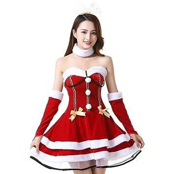 Amosfun sexy traje de navidad falda juego de roles falda roja sexo ...