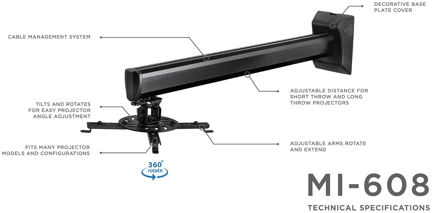 Mount-It. Proyector Soporte de pared para corto manta y estándar ...