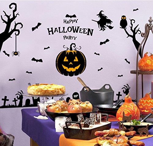Happy Halloween Pumpkin Trick Or Treat Value Party Scene Wall Decorating Kit Bedroom Home Window Sticker Mural for Baby Kids Room (Design (Halloween Live Wallpaper Windows 7)