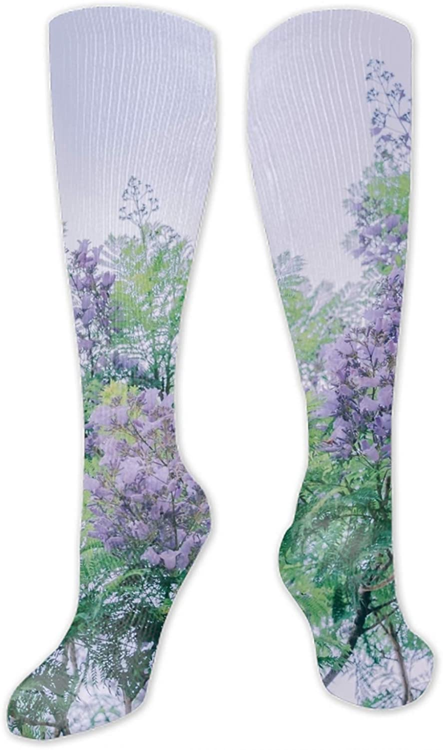 Abstract Painting Fashion 3D Print Funky Patterned Long Socks Gray Scissor Envelope Pencils