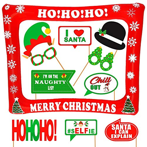 Christmas Inflatable Frame and Photo Booth Props – NO DIY Required Attached to The Stick – Fun Holiday Party Decorations for All Family – Great Theme Party Kit (Christmas -