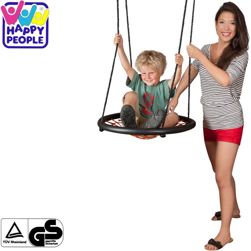 Happy People Nest Netzschaukel mit Netzsitzfläche, bis 100kg belastbar, 60 cm Ø    Nestschaukel Tellerschaukel Rundschaukel Schaukel bis 100 kg
