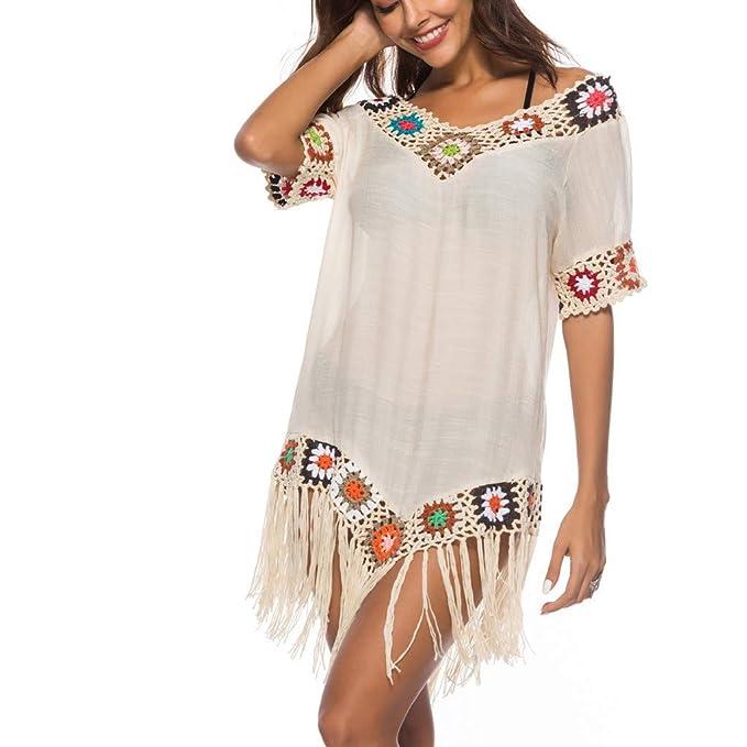Luckycat Traje de baño de Playa Cubrir Crochet Vestido de Playa Abrigo de baño Vestido de Playa con Borla: Amazon.es: Ropa y accesorios