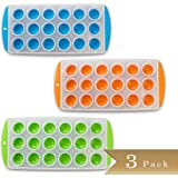 """TrueCraftware Set of 3 - Easy Push Out Ice Cube Molds / Pop Out Ice Cube Trays - Assorted Colors - 9.5"""" Pop Out Ice Trays"""