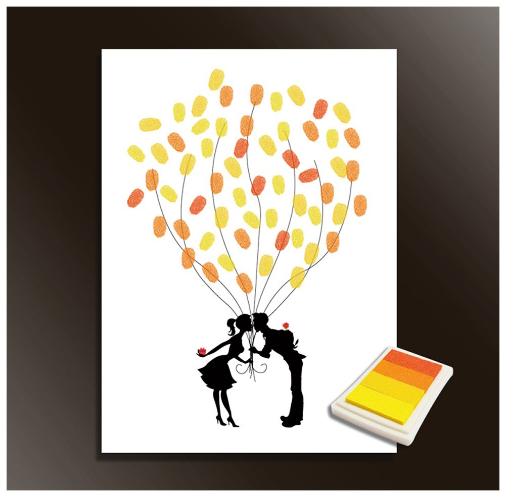 Fingerprints Tree, Proboths Creative Wedding Guest Signature Sign-in Book Canvas Ballons Tree Fingerprints Painting Decor for Wedding Party with 4pcs Ink Pads by Proboths