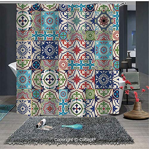 SCOXIXI Easy Care Polyester Shower Curtain,Patchwork Pattern from Colorful Moroccan Tiles Traditional Decorating Illustrations,for Master,Kid's,Guest Bathroom,Standard(59.05