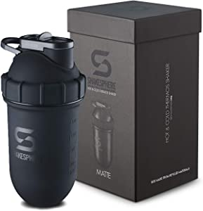 Shakesphere Tumbler STEEL: Protein Shaker Bottle Keeps Hot Drinks HOT & Cold Drinks COLD, 24 oz. No Blending Ball or Whisk Needed, Easy Clean Up Great for Shakes, Smoothies (Matte-Black)