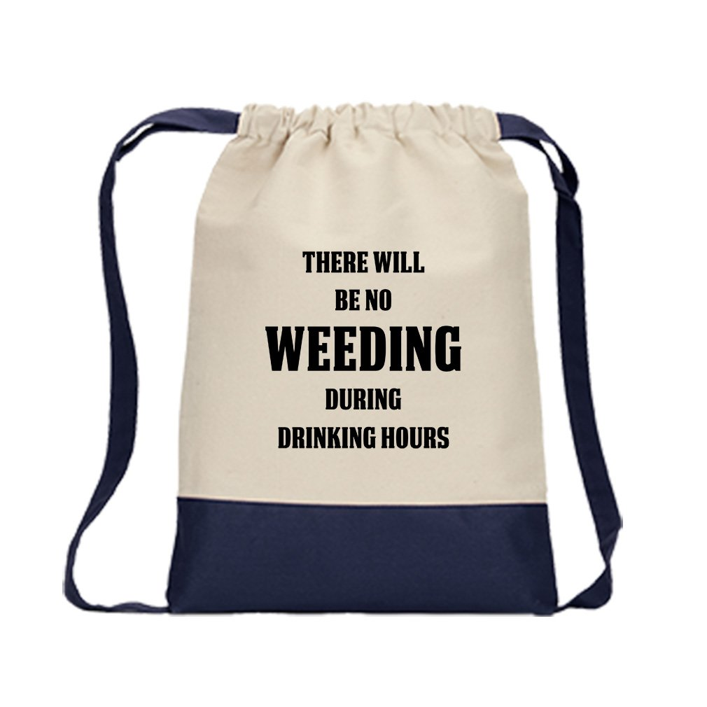 No Wedding During Drinking Hours #2 Canvas Backpack Color Drawstring Bag - Navy