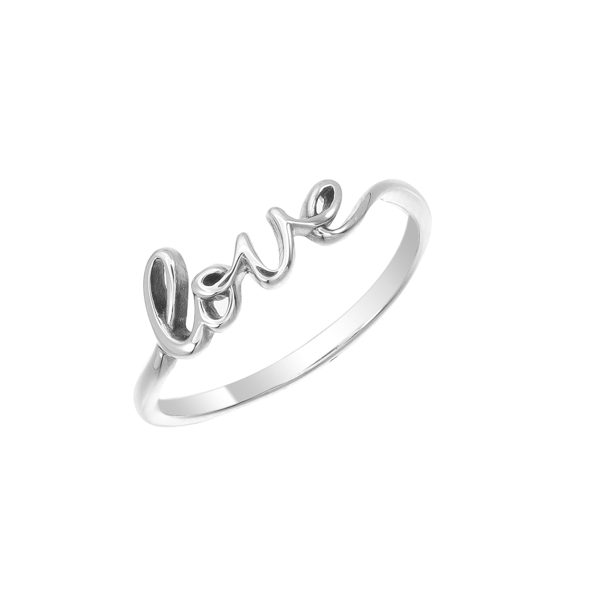 Boma Sterling Silver Love Script Ring, Size 7