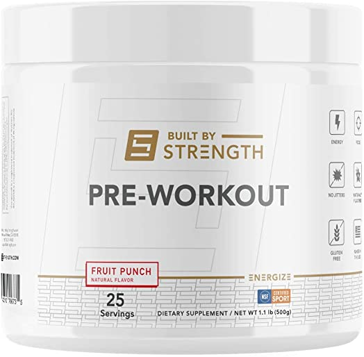 BuiltByStrength Pre Workout Powder Supplement NSF Certified Fruit Punch Energy Boost for Endurance and Muscle Growth Contains Creatine and Caffeine Great Taste that Dissolves Completely in Water