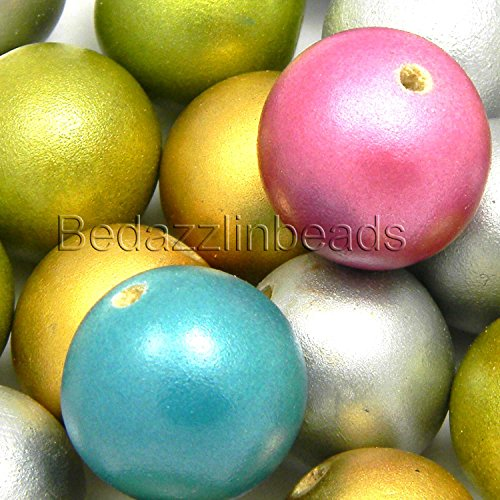 40 Big Assorted Metallic Colored 20mm 3/4