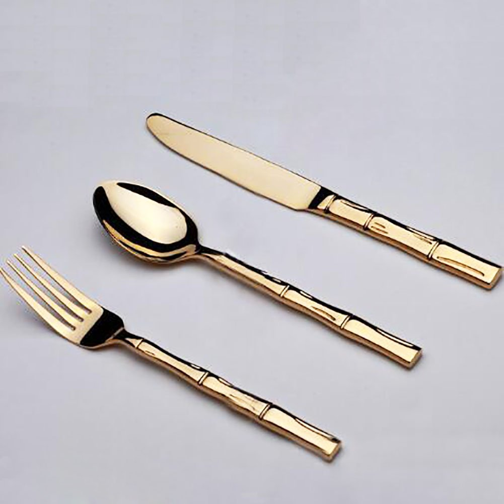Mirror Polished 4-Pc Gold Plated Bamboo Style Flatware Set