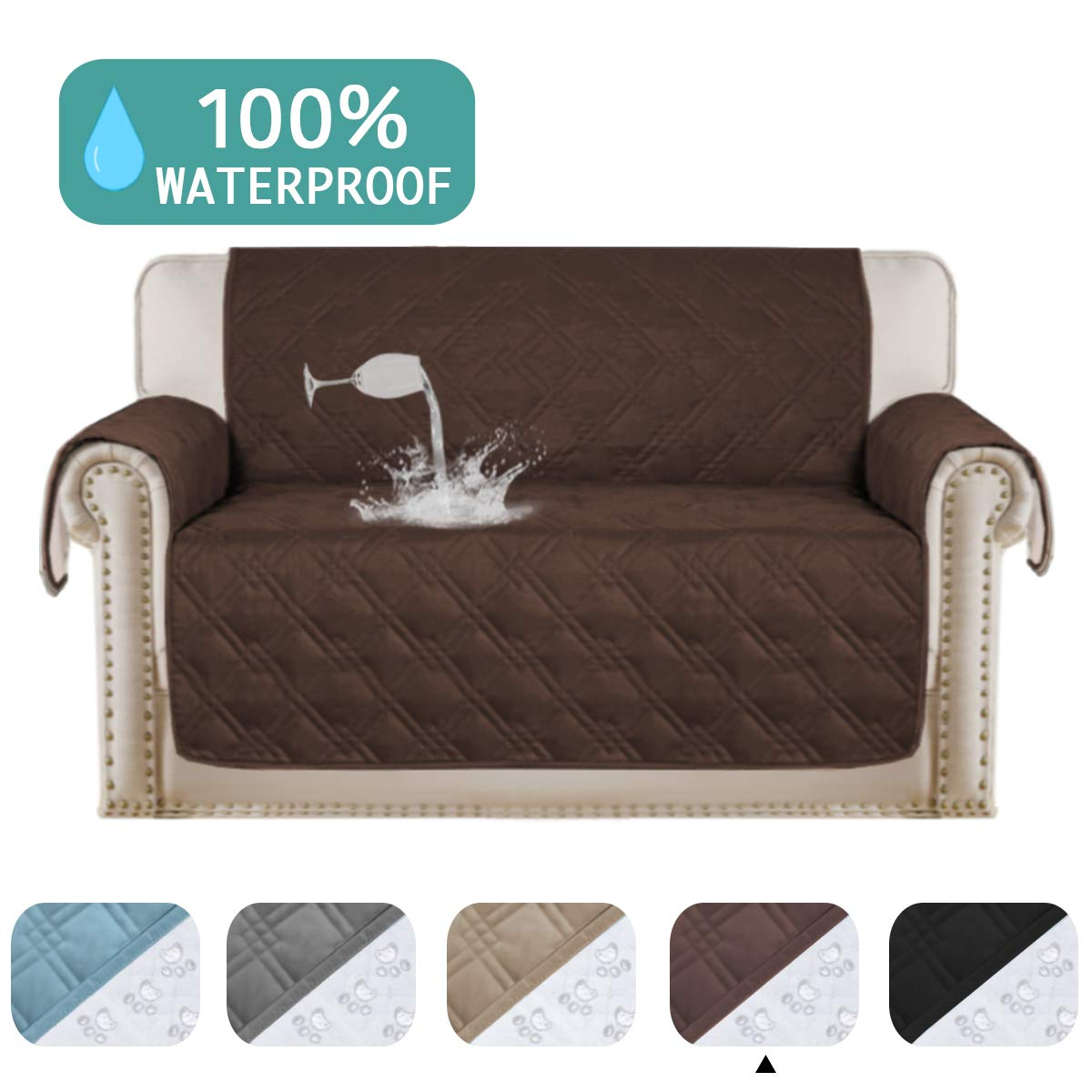 Awesome Turquoize 100 Waterproof Sofa Protector For Leather Couch Cover Slip Resistant Quilted Pet Furniture Covers Brown Protector Cover Non Slip Great For Machost Co Dining Chair Design Ideas Machostcouk