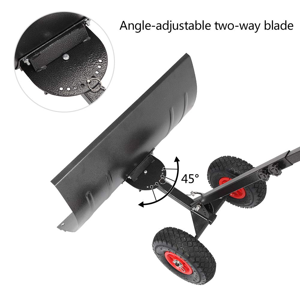 Metal Rolling Removal Tool with Multi-Angle TUFFIOM Wheeled Snow Shovel Pusher