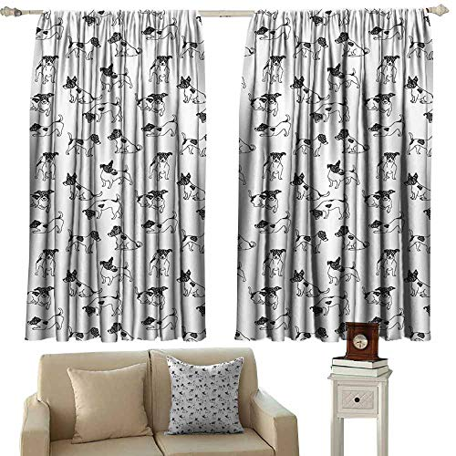 cashewii Dog Lover Heat Insulation Curtain Sketch Style Hand Drawn Jack Russell Terrier Doodles in Various Stances Purebred Suitable for Bedroom Living Room Study, etc.63 Wx72 L Cloth