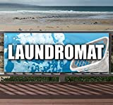 LAUNDROMAT 13 oz heavy duty vinyl banner sign with metal grommets, new, store, advertising, flag, (many sizes available)